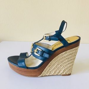 Michael Kors Leather Strappy Wedges